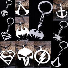 superhero Stainless Steel Pendant keychain flash superman punisher batman