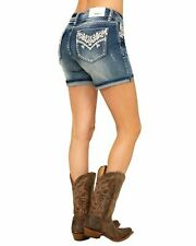 Grace In LA Jean Shorts Mid Rise Easy Fit Bling Faux Flap Denim Cuffed Rolled