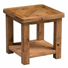 Bowery oak furniture side end lamp table with shelf