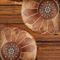 Black Friday Sale Set Of 2 Moroccan Pouf High Leather Quality Tan pouffe Ottoman