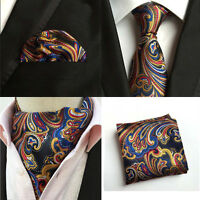 Mens Colorful Paisley Floral Silk Necktie Tie Ascot Cravat Handkerchief Set Lot