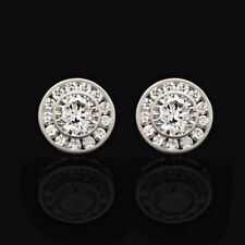 14K White Gold 1.5Ct Simulated Round Diamond Bezel Cluster Stud Earrings