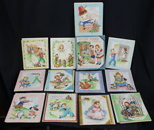 12 Vtg Greeting Cards 40s 50s Little Folks Double Folders Rhymes Songs Unsent