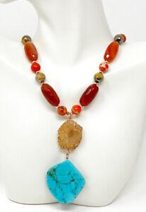 Natural Red/Orange Carnelian Stone Druzy Quartz And Turquoise Pendant Necklace