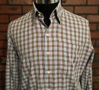 Peter Millar Long Sleeve Plaid Dress Shirt Men's Size Medium