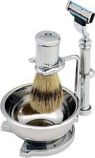 Men's Shaving Shave Stand Set Stainless Steel 4 Piece Mach 3 Razor Compatible