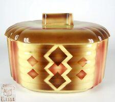 Steingutfabrik Elsterwerda Keramik Dose / Deckeldose Spritzdekor Art Deco