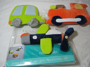 New Tiddliwinks Come Ride With Me Velour Wall Art 3 PC NIP Airplane Train Car