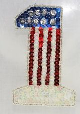 USA American Red White Blue #1  Applique Shinny & Brigh, Pressure Sensitive glue