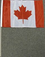 "CANADA FLAG 12X18 12"" X 18"" CANADIAN WOOD STICK NEW W20"