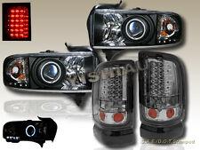 94-01 Dodge Ram CCFL Halo Projector Headlights Black& LED Smoke Tail lights