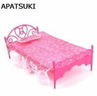 1:6 Plastic Bed For Barbie With Lace Bed Sheet Pillow Furniture for Barbie Dolls