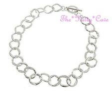 Stunning Silver Rhodium Plated Loose Curb Links Collar Crystal Toggle Necklace
