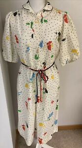 Vtg Women's Leslie Fay 80's Dotted Belted Midi Dress Size Large Colorful Artsy