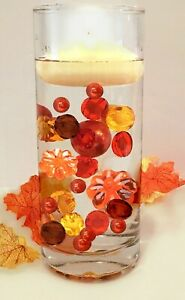 """""""Floating"""" Pumpkins & Pearls Fall Thanksgiving Vase Decoration and Table Scatter"""