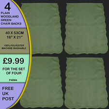 NEW Pack of 4 Plain Woodland Green Backs Covers Protectors Seat Antimacassar P4M