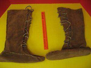 VINTAGE TANDY LEATHER FULL LENGTH FRONT LACE KNEE HIGH MENS FOOTSKIN MOCCASINS