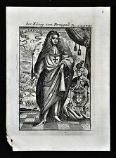 1685 Mallet Print - King of Portugal - Alfonso IV with Battlefield in background