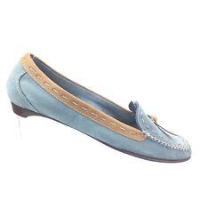 Cole Haan Blue Suede Tan Leather Trim Moccasin Flat Tassel Shoe Womens 8B