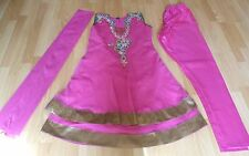 Brand New Hot Rose Broderie & Fileté Churidar Indien Costume-Taille 8