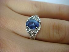 1.10 CT AAA GENUINE TANZANITE IN 14K WHITE GOLD FILIGREE SETTING SOLITAIRE RING