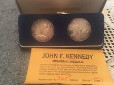 1973 John F Kennedy 10 Anniversary Memorial Medal Sterling Silver  Set Rare