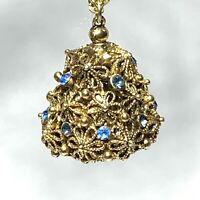 "VINTAGE Flower Filigree Ball RHINESTONE PENDANT NECKLACE Hollow BLUE Gold Tn 29"""