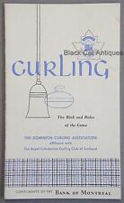 Original 1964 Dominion Curling Assoc Rink & Rules Of The Game Pocket Handbook