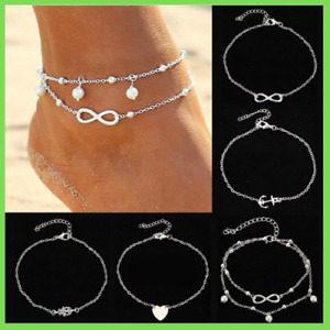 Fußkettchen Set Herz Anker unendlichkeit Mode Fusskette Silber Damen Fußschmuck