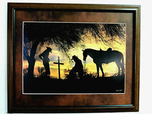 WESTERN COWBOY PICTURE END OF THE TRAIL BARRY HART MATTED FRAMED 16X20