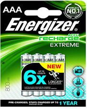 4 x Energizer 800 MAh Extreme Rechargeable Batteries AAA 1.2V Pre Charged NiMH