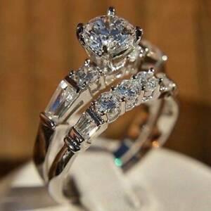 Gorgeous 925 Silver Imitated Diamond Cz Ring Set for Women Wedding Jewelry #5-11