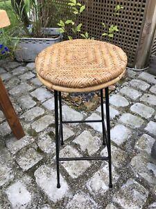 Vintage Bamboo & Rattan Bar Stool Boho Tiki Home Bar Japandi