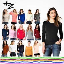 New Womens Long Sleeve Round Neck Plain Basic Stretch T-Shirt Top 8-26 HUGE SALE
