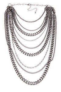 Flawless Women Chic Large Multi Strand Shiny Dark Grey Chain Necklace (T366)