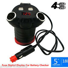 4 USB Car Charger 3 Cigarette Lighter Ports Cup Holder With Fuse Digital Display