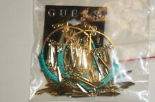 NWT GUESS EARRINGS Gold Indians Style Blue Color Elegant