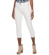 Juicy Couture Womens White Skinny Capris Jeans Mid Rise Sz 12 NWT
