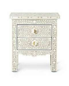 Wooden handmade bone inlay grey floral bedside table and nightstand