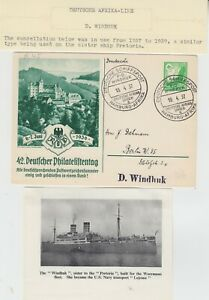 MARITIME 1937 DEUTSCHE AFRIKA LINE::D. WINDHUK post card with the special cancel