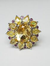 **STERLING SILVER CITRINE & RUBY RING SIZE 8.75**