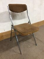 Retro Industrial Style Corduroy And Chrome Tubular Folding Chair ( Project )