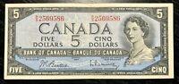 1954 $5 BANK OF CANADA BEATTIE RAMINSKY R/S - V.F Cond!