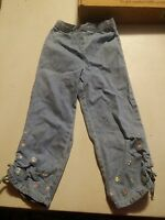 000 Cute Girls Kids Headquartes Size 6 Tie At Ankle Jeans Flowers