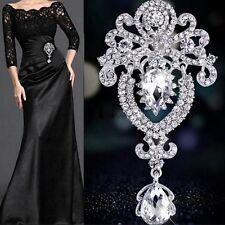 Beauty Large Flower Bridal Brooch Rhinestone Crystal Diamante Silver Broach Pin