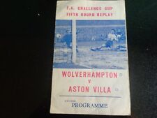 WOLVES v ASTON VILLA   FA CUP 5th Rd replay at West Bromwich 1964/5 PIRATE PROG