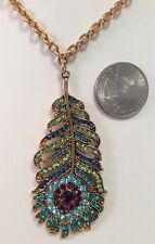 Kirks Folly NWOT Josephine Wall Peacock Feather Pendant Long  Necklace Gold