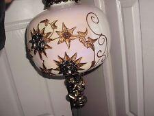 Cherub Globe Hanging Lamp SWAG Plugin Rose Chain Glass Ball Angel Fixture brass