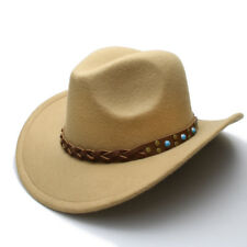Wool Felt Western Cowboy Hat For Women Men Wide Brim Cowgirl Braid Leather Band