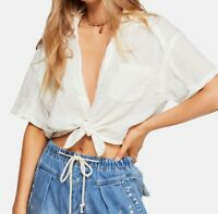 Free People Womens Blouse Classic Optic White Size Large L Tie Front $88- 454